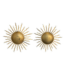 A PAIR OF 1950S LARGE WROUGHT IRON GILT SPANISH SUNBURSTS WALL SCULPTURES