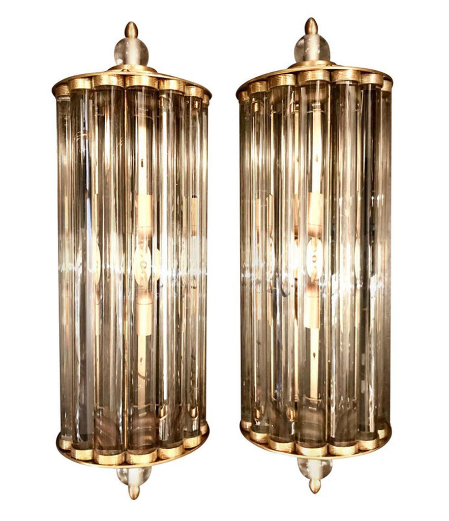 ART DECO STYLE VENINI GLASS ROD AND BRASS WALL SCONCES