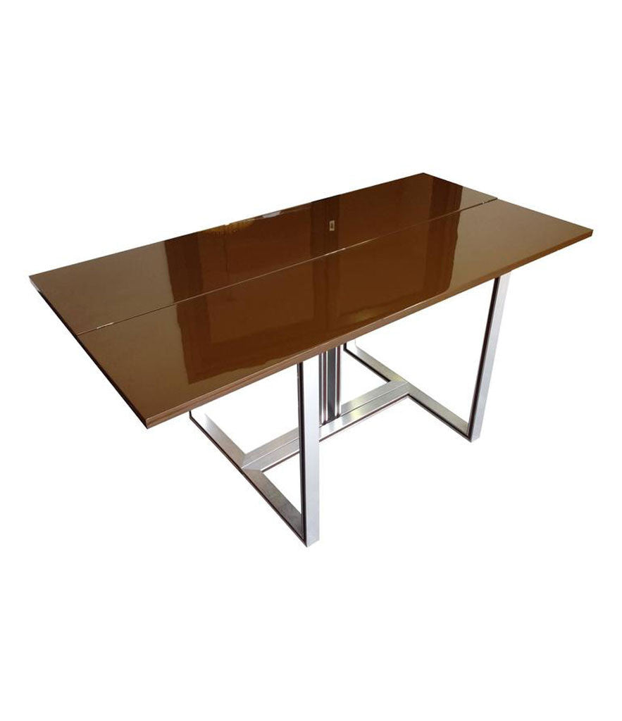 ARTELANO BROWN LACQUER EXTENDING CONSOLE TABLE