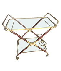 A CESARE LACCA ROSEWOOD NAD BRASS BAR CART