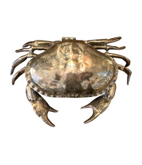 A FONDICA SOLID CAST CRAB WITH HINGED TOP SHELL WITH BLUE VELVET LINING