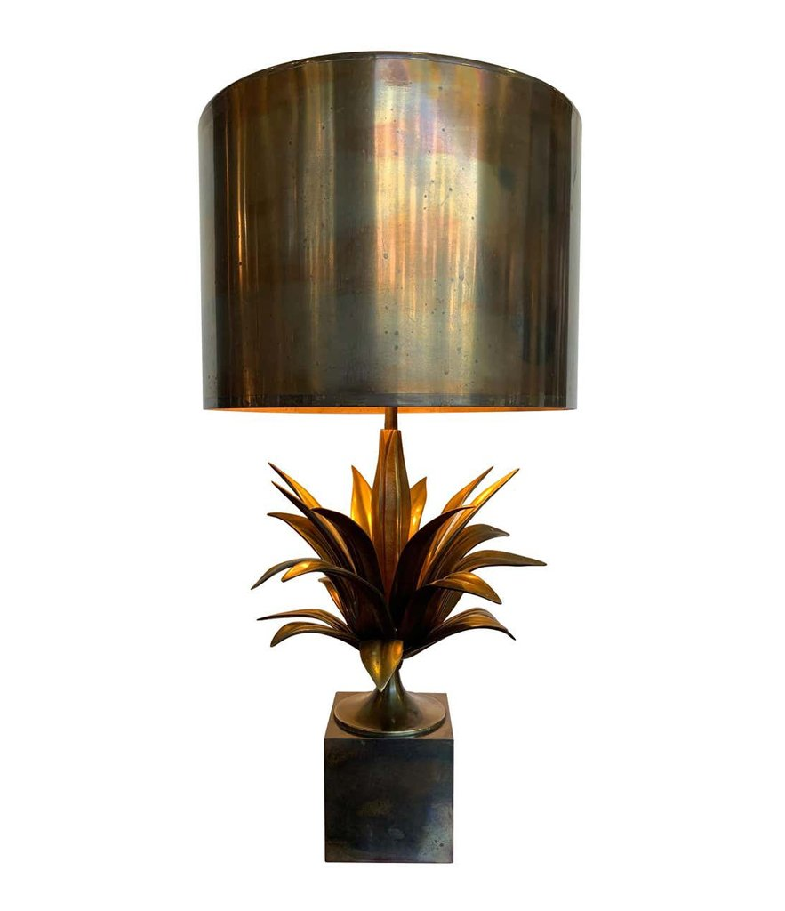 "A MAISON CHARLES ""AGAVE A GORGE"" BRONZE LAMPS WITH ORIGNAL BRONZE SHADE, SIGNED"
