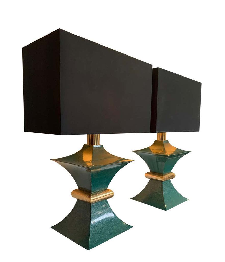 A PAIR OF 1970S ROMEO REGA INTERESTINGLY SHAPED METAL LAMPS WITH TURQUOISE BASES