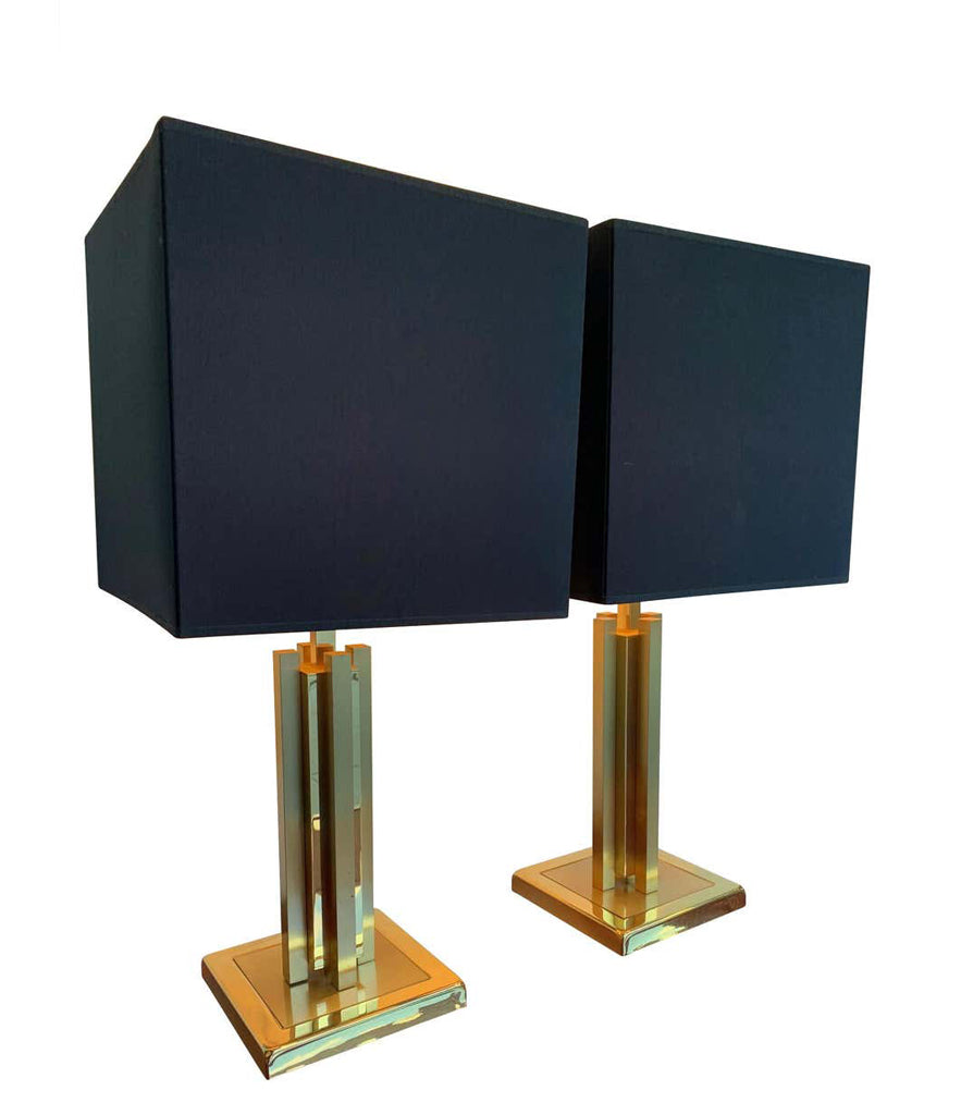 A PAIR OF 1970S WILLY RIZZO STLYE BRASS LAMPS WITH NEW BESPOKE SHADES