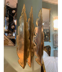 PAIR OF HOLM SORENSEN TORCH CUT BRASS BRUTALIST WALL SCONCES WITH TWO FITTINGS