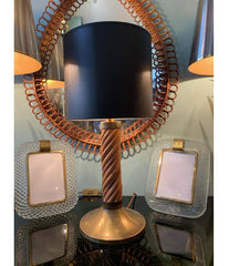A RARE ITALIAN BAMBOO LAMP WITH BRASS BASE AND FITTINGS BY FERDINANDO LOFFREDO