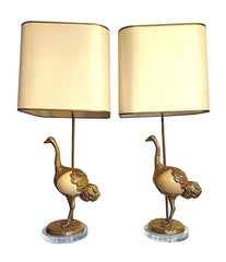 "A RARE PAIR OF GABRIELLA CRESPI ""STRUZZO"" LAMPS WITH REAL OSTRICH EGG BODIES"