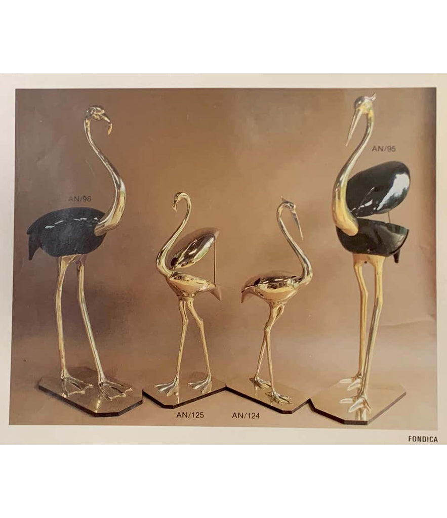 A STUNNING LARGE BRASS FLAMINGO SCULPTURE BY FONDICA WITH HINGES BACK WINGS