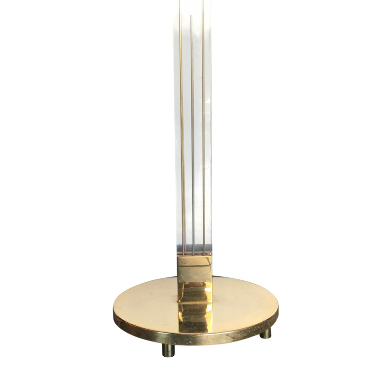 ART DECO STYLE LUCITE AND GILT METAL FLOOR LAMP