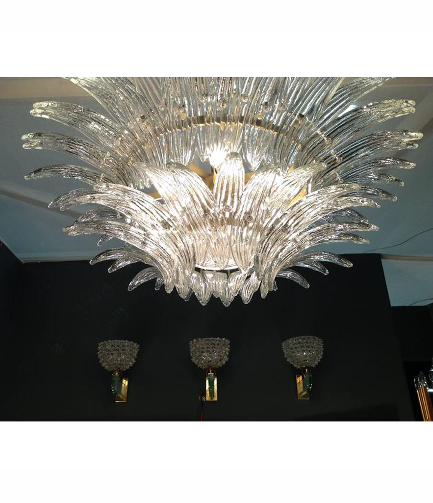 BEAUTIFUL PAIR OF LARGE BAROVIER AND TOSA PALMETTE CHANDELIERS