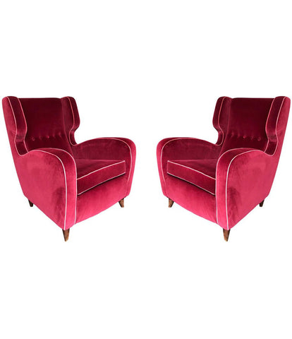 BEAUTIFUL PAIR OF WING BACKED ARMCHAIRS ATTRIBUTED TO GUGLIELMO ULRICH