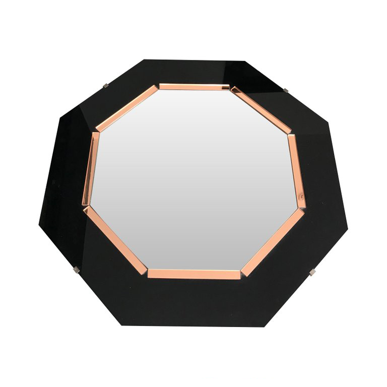 BLACK GLASS AND ROSE MIRROR ART DECO STYLE OCTAGONAL MIRROR
