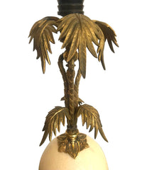 BRASS PALM TREE TABLE LAMP WITH REAL OSTRICH EGG CENTRE