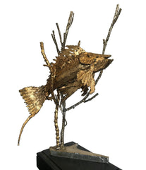 BRUTALIST FISH SCULPTURE ON A BLACK WOODEN PLINTH