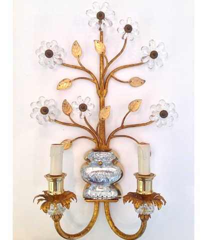 Maison Bagues gilt wall sconces and rock crystal