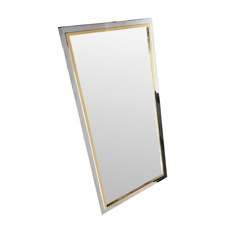BELGO CHROME MIRROR WITH BRASS AND CHROME FRAME