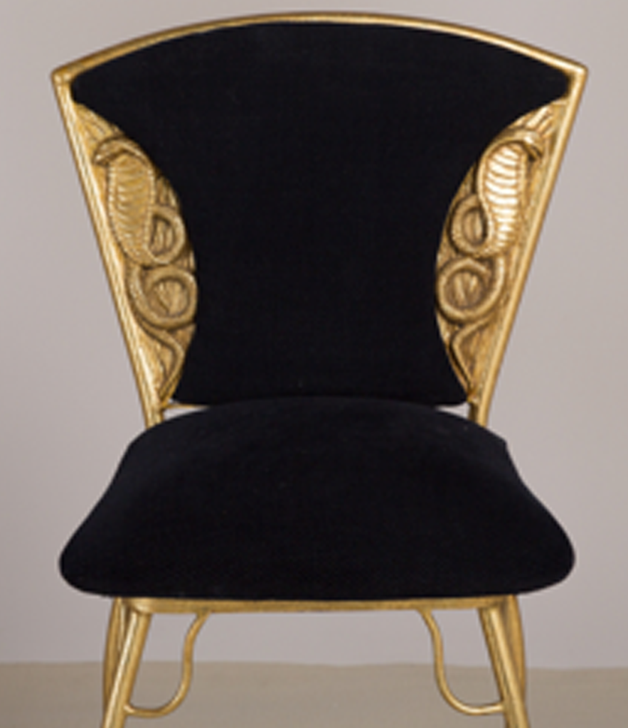 Set of 4 Gilt metal Italian cobra chairs 1970s