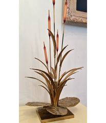 French brass bullrush lamp