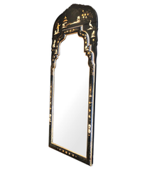 CHINOISERIE MIRROR WITH BLACK LACQUER FRAME WITH BIRDS, FIGURES AND FLOWERS