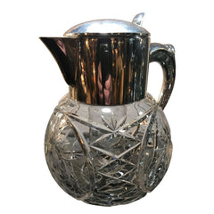 CUT GLASS AND SILVER PLATED LEMONADE OR COCKTAIL JUG