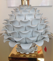 An Italian Ceramic artichoke lamp