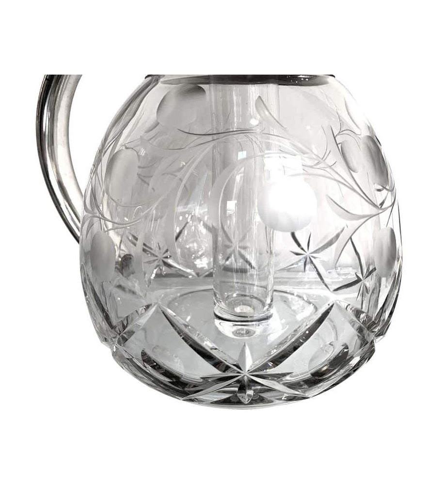 ENGLISH SILVER PLATED CRYSTAL LEMONADE / COCKTAIL JUG WITH ENGRAVED LEAVES