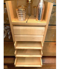 FABULOUS LARGE ART DECO OAK BAR CABINET BY CHARLES DUDOUYT WITH GLASS SHELVES