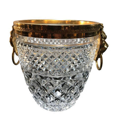 FACETED GLASS ICE BUCKET WITH GILT METAL LION HEAD HANDLES
