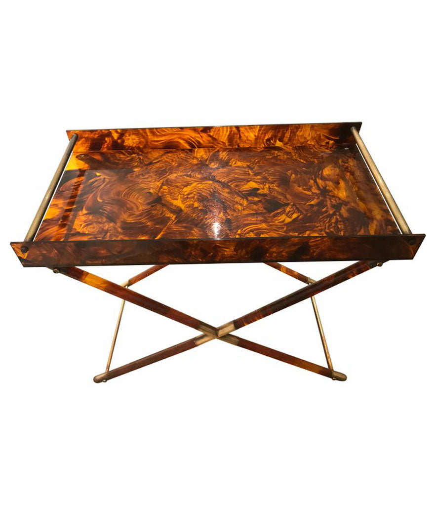 FAUX TORTOISESHELL SIDE TABLE WITH BRASS DETAILING