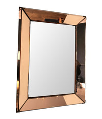 FRENCH ART DECO ROSE COLORED MIRROR WITH BRASS CORNERS