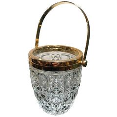 FRENCH FACETED GLASS ICE BUCKET