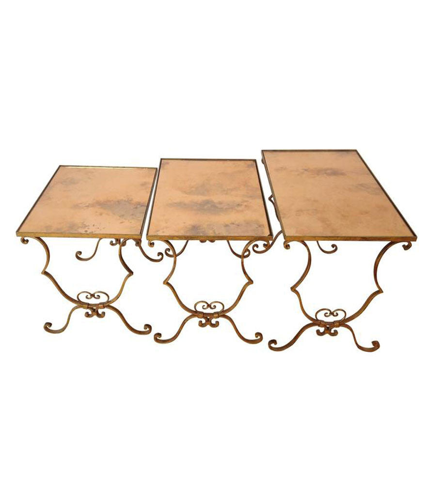 french nest of gilt metal tables – ed butcher - french nest of gilt metal tables