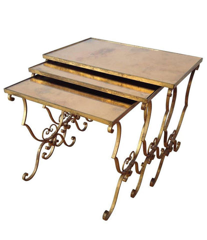 FRENCH NEST OF GILT METAL TABLES