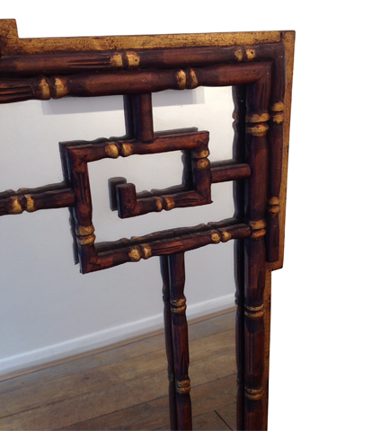 Faux bamboo Chinoiserie wooden mirror 1920s