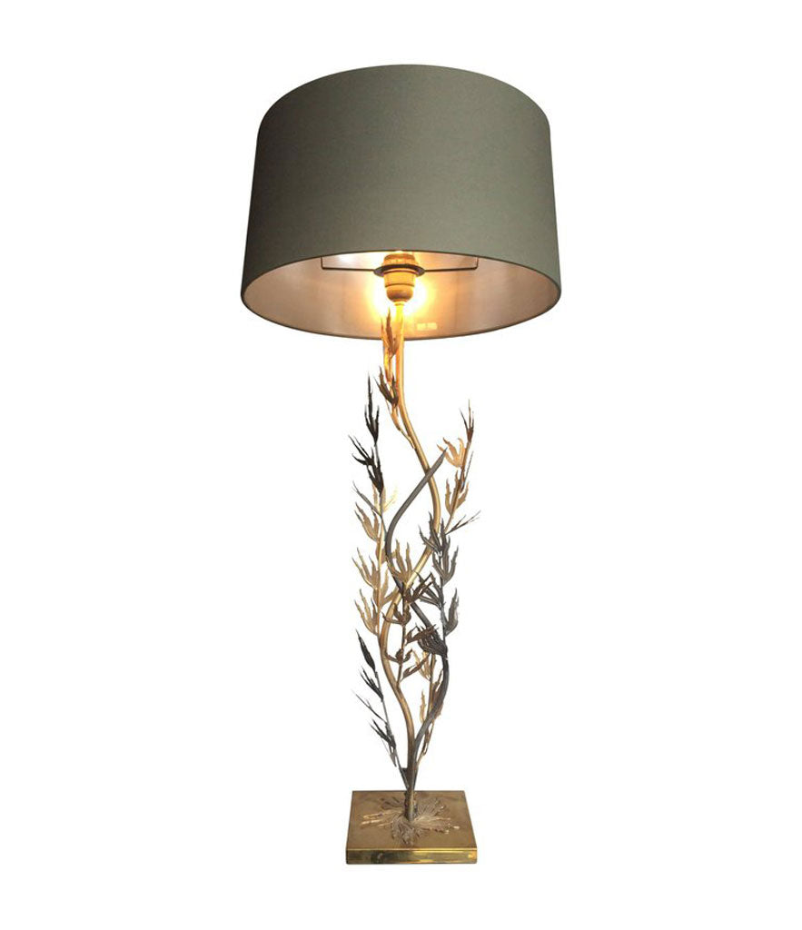 FRENCH GILT AND BLACK METAL CORAL LAMP
