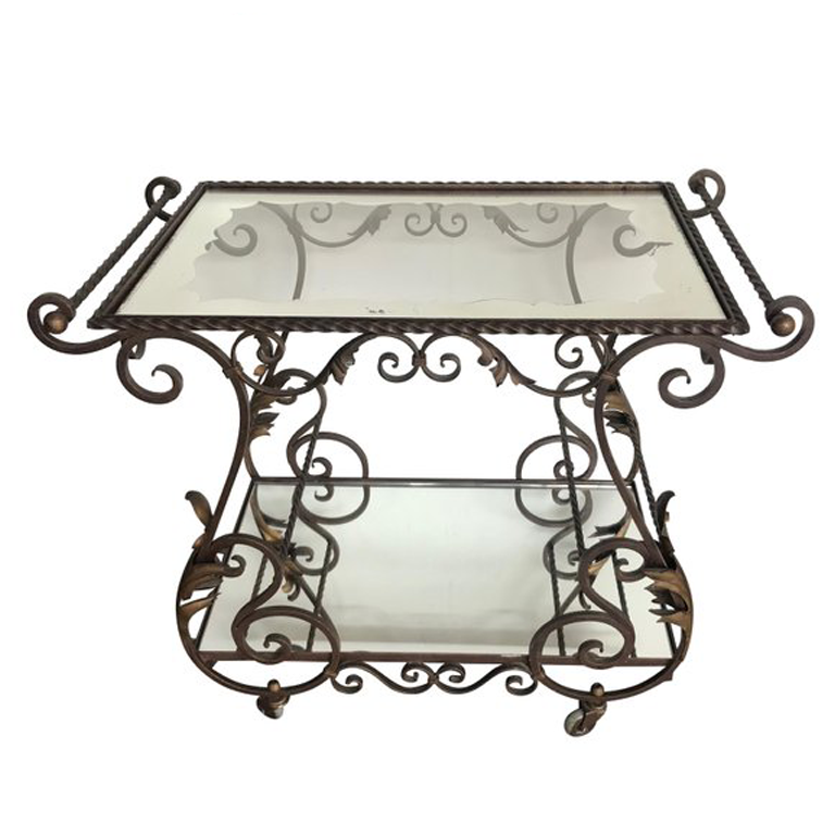 FRENCH ORNATE WROUGHT IRON BAR TROLLEY WITH 2 GLASS MIRRORED SHELVES