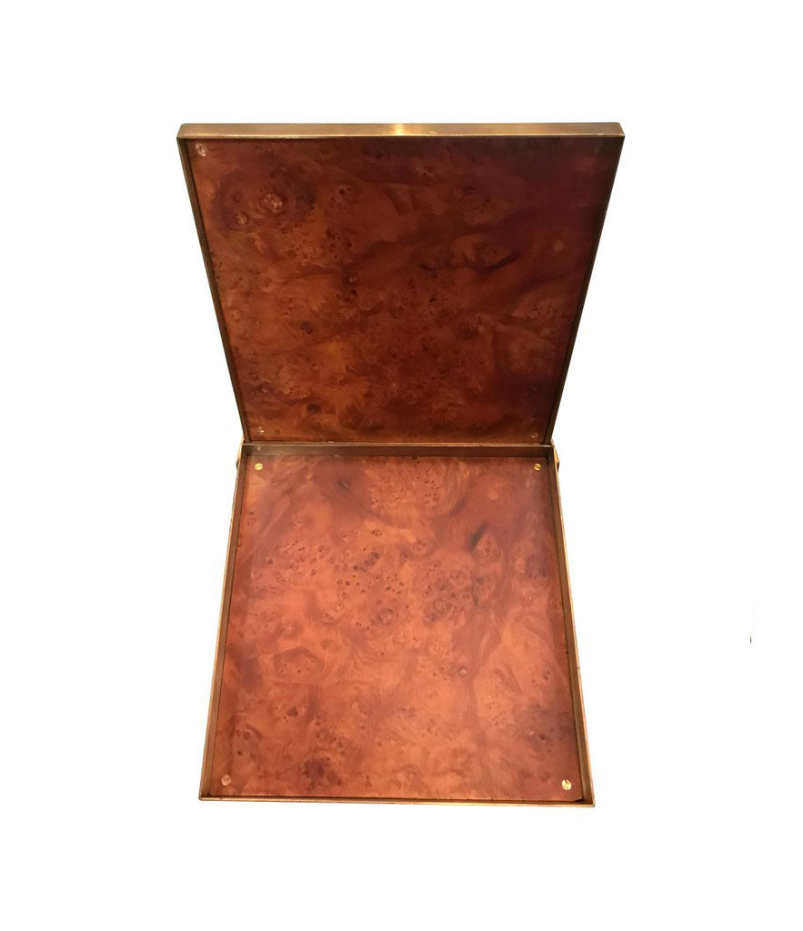 GABRIELLA CRESPI SIGNED BURL WOOD AND BRASS CIGAR, JEWELLERY BOX