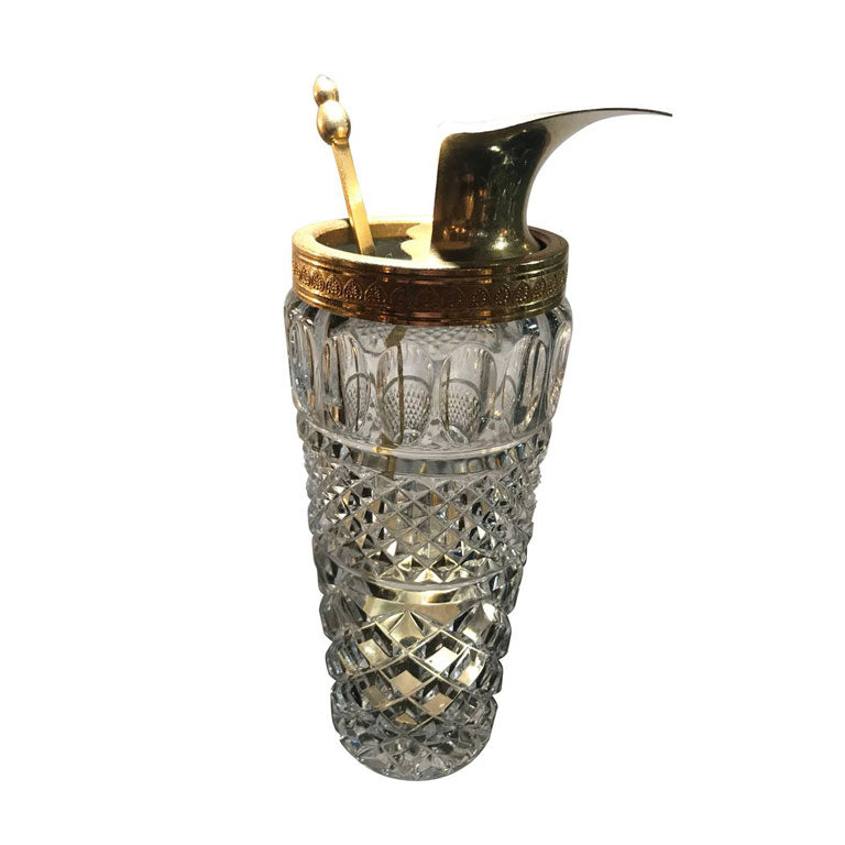 GLASS AND GILT METAL COCKTAIL MIXING JUG OR POURER AND SPOON