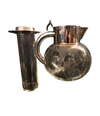 GLASS COCKTAIL JUG WITH SILVER PLATED HANDLES
