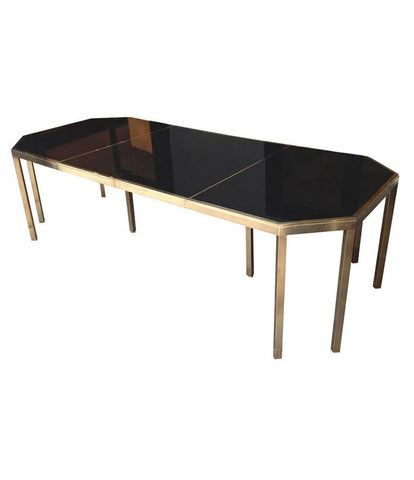 GUY LEFEVRE BRASS EXTENDABLE DINING TABLE FOR MAISON JANSEN