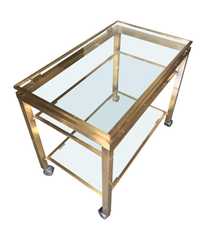 GUY LEFEVRE STYLE GILT METAL BAR TROLLEY WITH THREE GLASS SHELVES