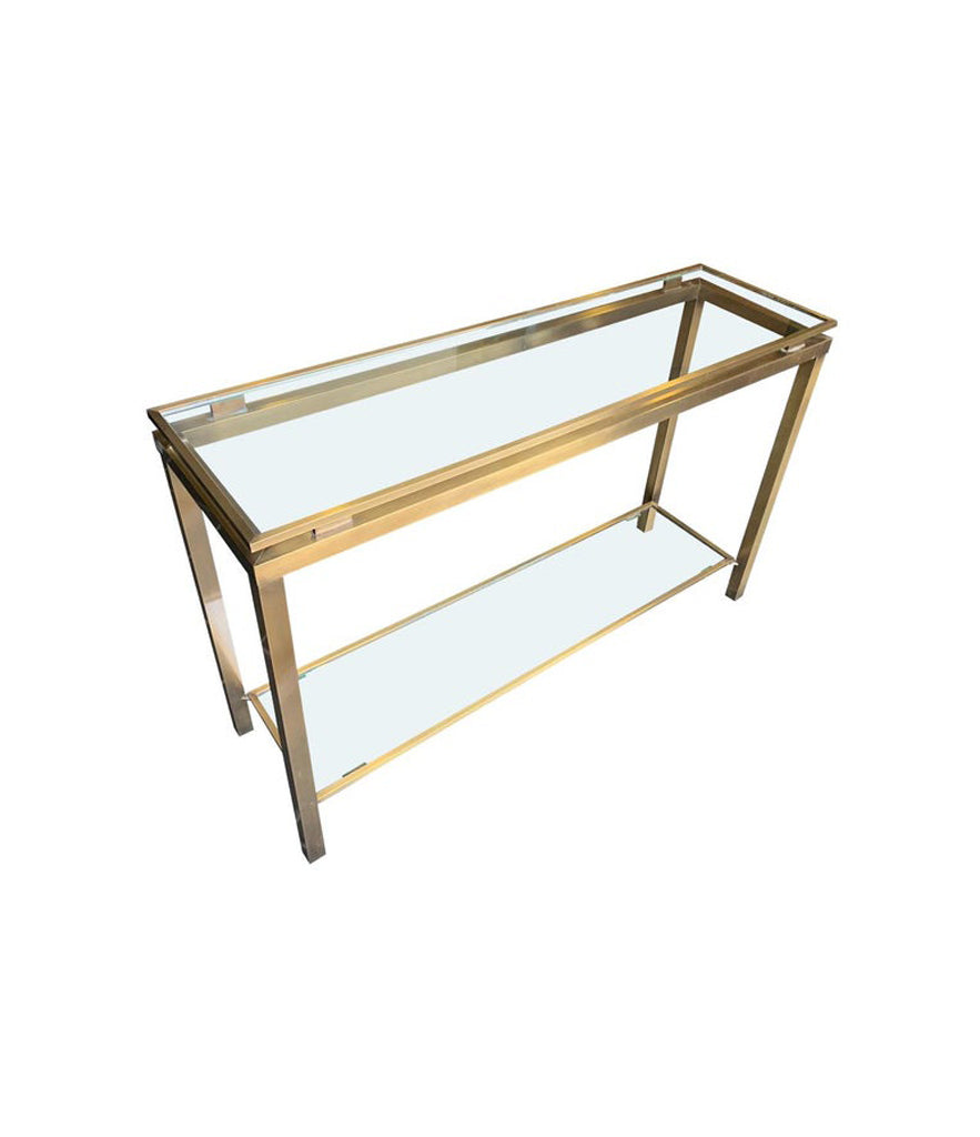 GUY LEFEVRE STYLE GILT METAL CONSOLE WITH TWO GLASS SHELVES