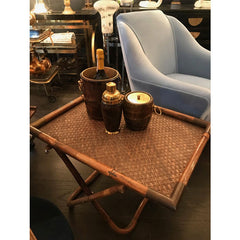 GABRIELLA CRESPI BAMBOO AND WICKER SIDE TABLE