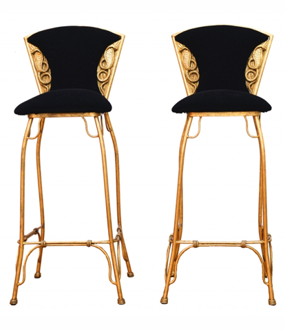 Gilt metal cobra stools