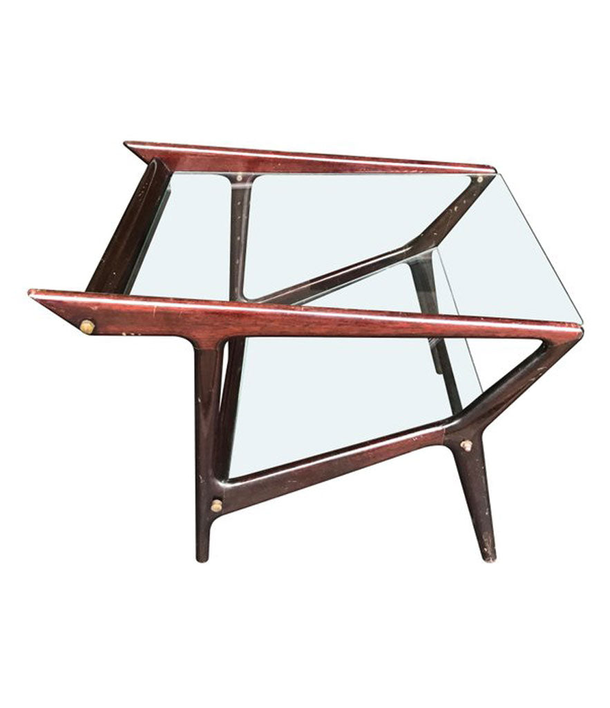 ICO PARISI ROSEWOOD MAGAZINE RACK SIDE TABLE