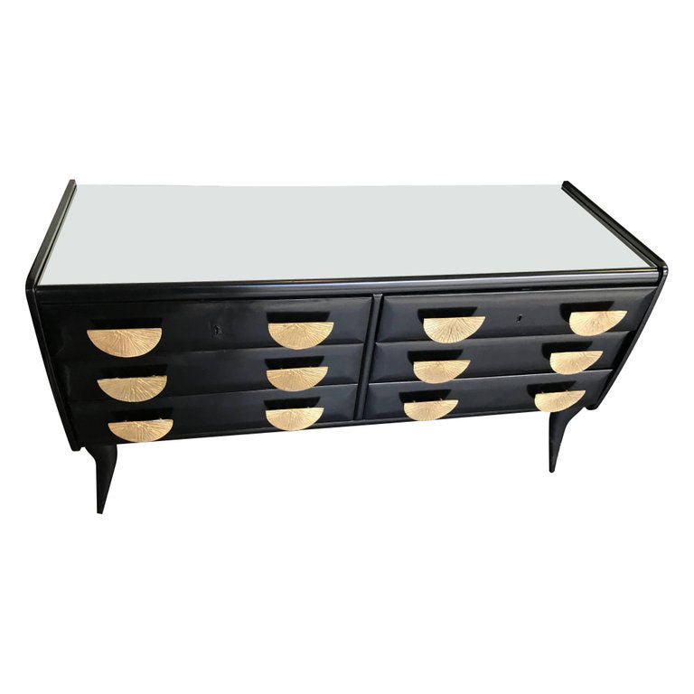 ITALIAN 1950S EBONISED CHEST OF DRAWERS