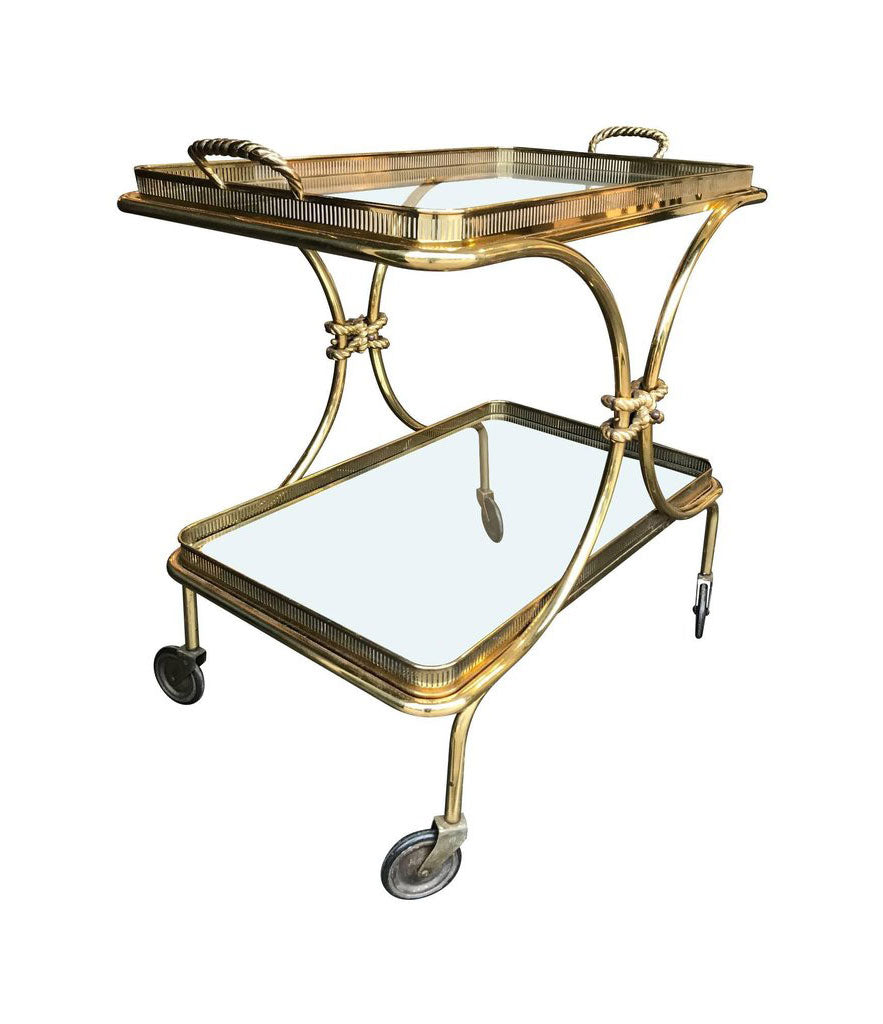 ITALIAN BRASS BAR TROLLY