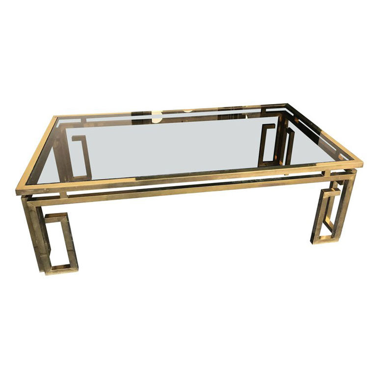 Italian Glass Coffee Table.Italian Brass Coffee Table With Smoked Glass Top