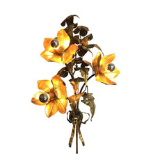 ITALIAN BRASS FLOWER WALL LIGHT BY P MAS ROSSI