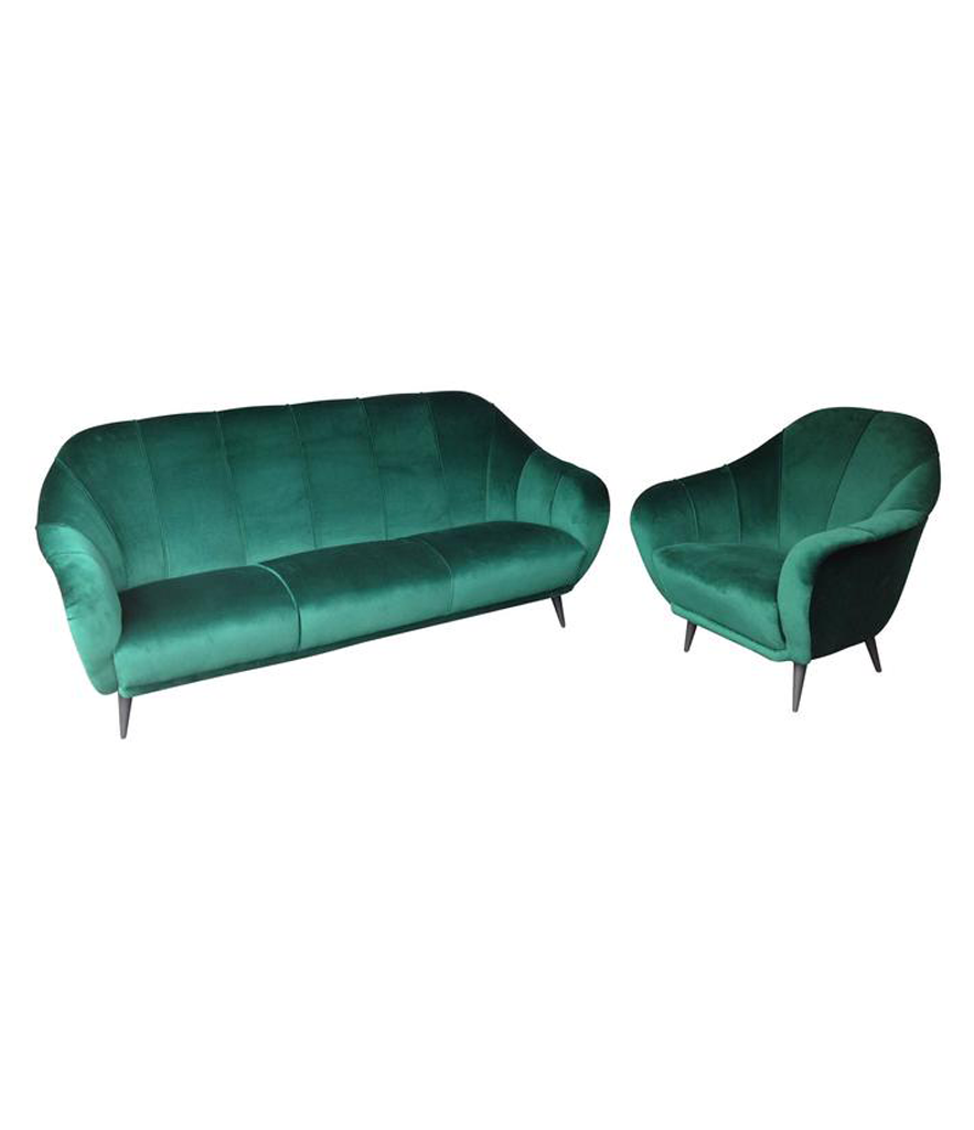 ITALIAN EMERALD GREEN VELVET SOFA